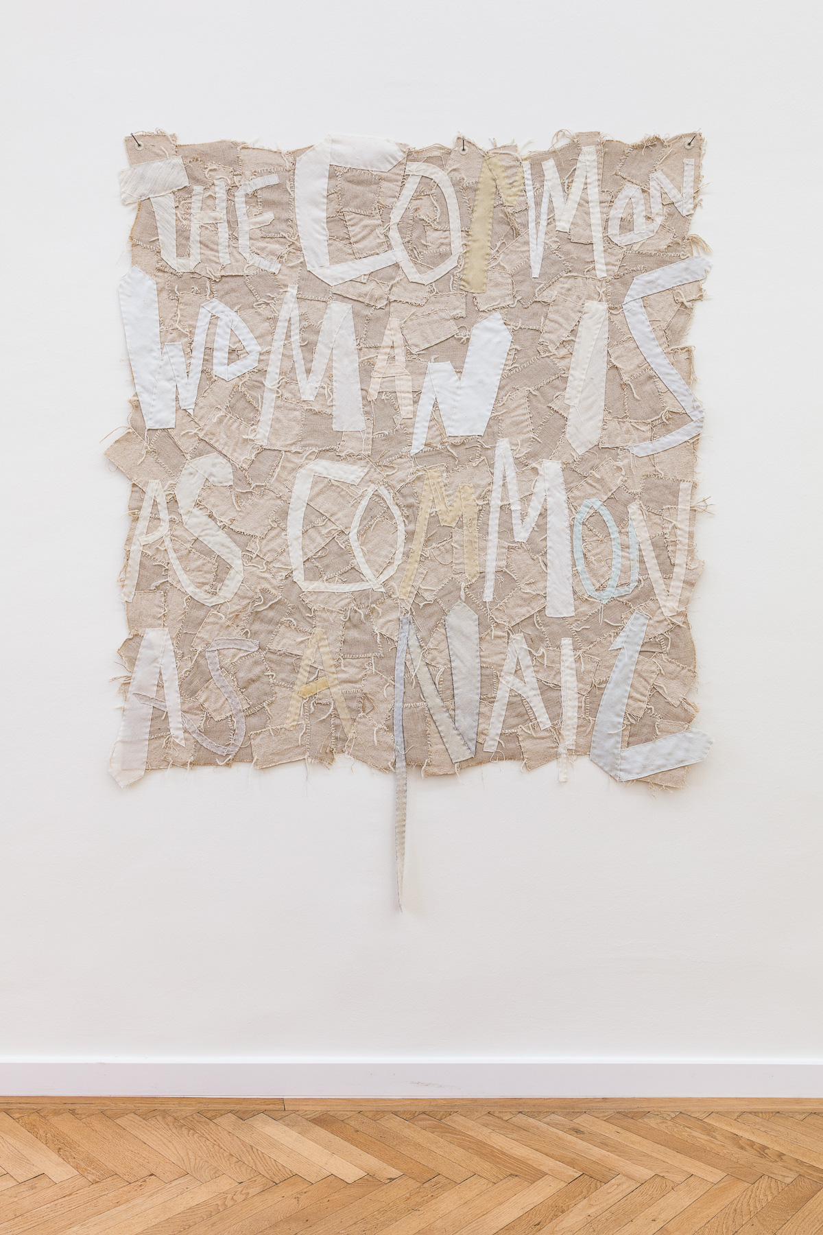 common crazy I – V, 2019. Burlap, canvas, tie linings, yarn, grommets. Various sizes.