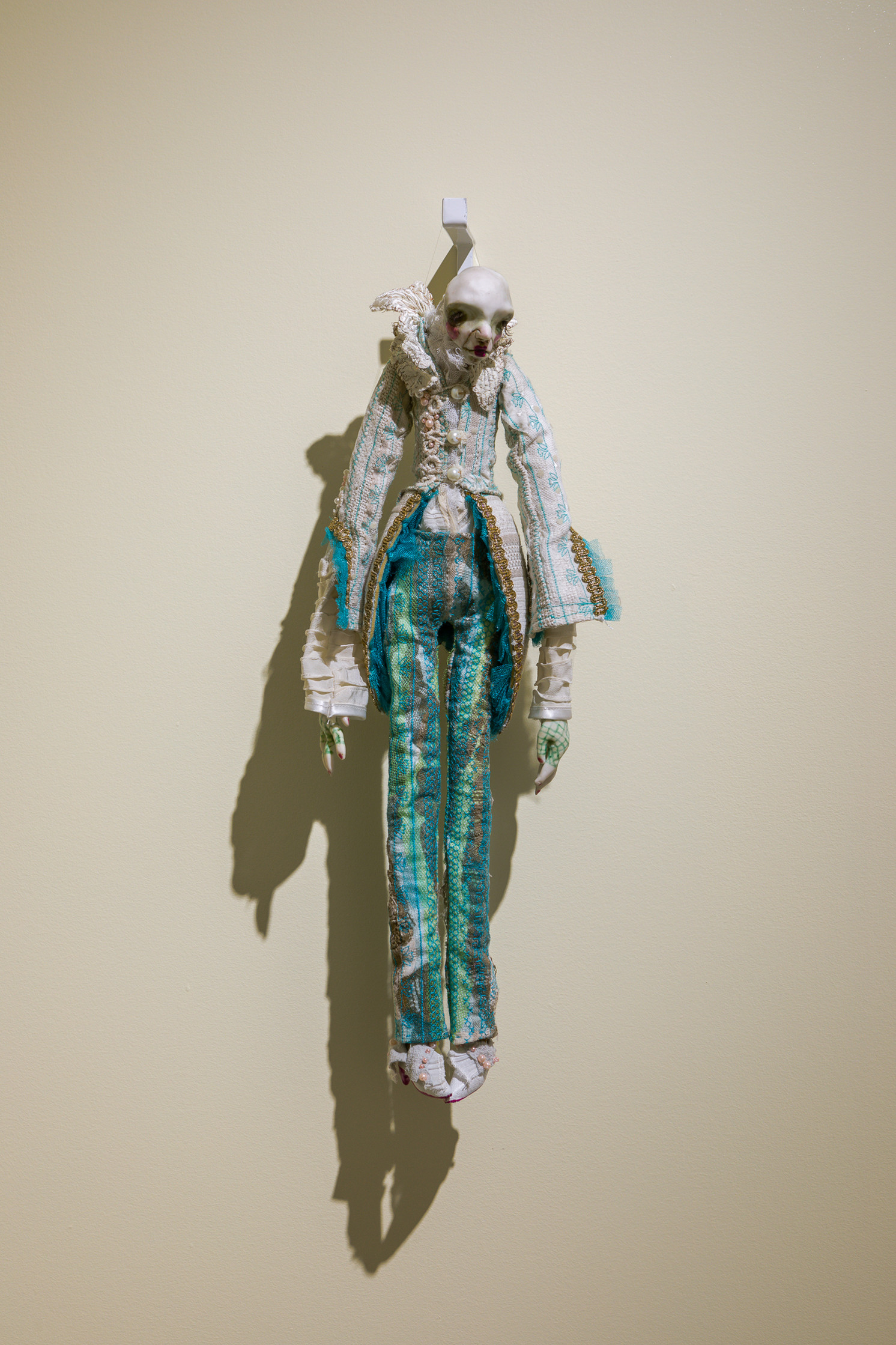 Marija Tavčar, Marquis, 2013. Polymer clay, cotton, silk, pleated fabric, lace, tulle, ribbons, real leather, beads, embroidered details. Courtesy of the artist.