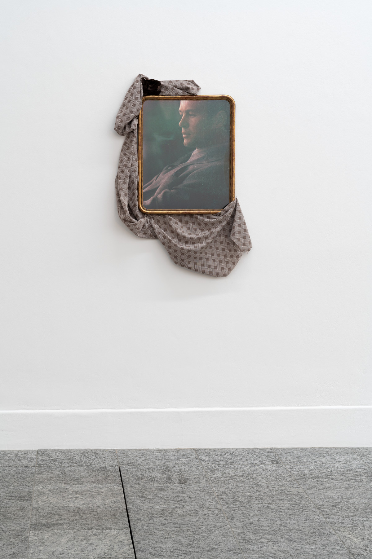 Kai Althoff, Untitled, 2004. Black-and-white-photograph on aluminum foil, antique frame, cloth, fabric flower.